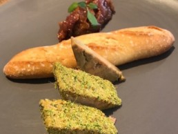 A delicious French appetizer with foie gras