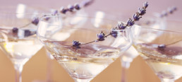 Lavender champagne cocktail glass