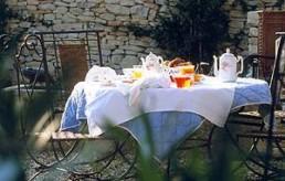 Breakfast table outside Provence